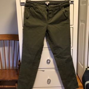 Madewell Paperbag Fit Olive Green Pants